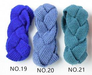bleu vert mazarine élastique à tricoter bande de cheveux à la main de laine fil bandeau accessoires pour chaud automne et d'hiver Cheveux Bandes