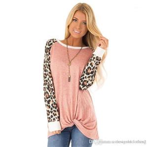 O Neck comprida feminina Manga comprida Tshirts Moda cor sólida Female Tees New Leopard solto Womens T-shirts Designer