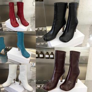 Высочайшее качество BLOC BOOTS IN LAVILLE CALF женские пинетки Модные роскошные женские туфли на каблуках бренда Кожаные сапоги женские ботильоны дизайнер
