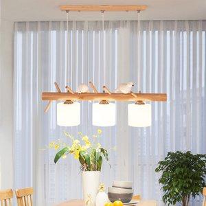 Декоративные Nordic Подвесные светильники Стеклянные висячие лампы Обеденные Детская комната E27 2/3 головки Творческие Птицы Подвеска лампа Вуд Led Hanglamp