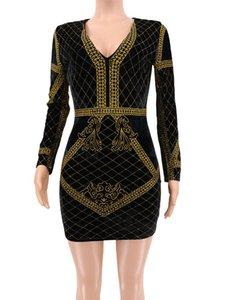 Velvet Vergolden der Frauen beiläufige Kleider Sexy Panelled Womens Bodycon Kleider Modedesigner Kleider Weibliche Kleidung Drucken