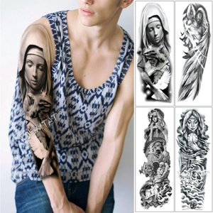 Large Arm Sleeve Tattoo Virgin Mary Jesus Waterproof Temporary Tattoo Sticker Pigeon Praying Roses Men Full Skull Totem