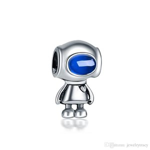 Robot creativo Alien Charm Cute Alloy Beads gran agujero moda mujer joyería DIY pulsera collar brazalete