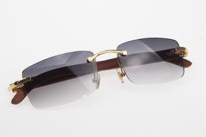 متفوقة الموردون بدون إطار نظارات مصمم نظارات شمسية جديدة الخشب الساخن 3524012 بدون إطار النظارات الشمسية الساخنة للجنسين خشبية نظارات شمس مع صندوق 2019