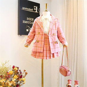 2019 fashion new girl baby classic plaid clothing set jacket+pleated skirt,Girls Kids Princess Suits Child Outfit