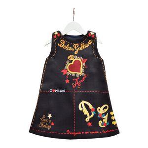 2020 العلامة التجارية فساتين الأميرة للبنات رسالة طباعة مصمم الملابس يوم الحب القلب مطبوعة جولة الرقبة الاطفال الأطفال اللباس عيد الحب