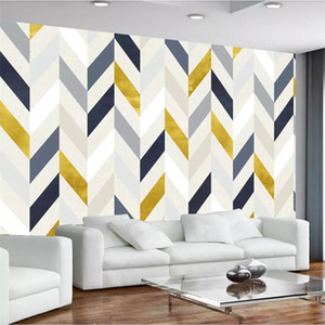 wellyu Custom wallpaper 3d stereo photo murals Nordic retro nostalgic abstract geometric mural TV background 3d new wall paper