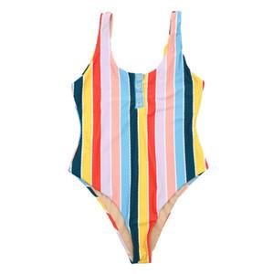 Womens 스트라이프 원피스 수영복 비키니 세트 백리스 수영복 패션 캐주얼 스타일 섹시한 수영복 아시아 크기 S-L