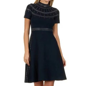 fashion women's high-end elegant diamond waist waist knitted dress