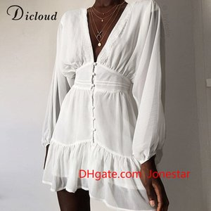 DICLOUD Sexy Plunge V Neck Women's Spring Summer Dress White Lace Long Sleeve Mini Party Dress Ruffle Elegant Clothing 2020