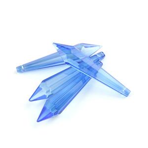 80mm 10PCS Light Sapphire Crystal Icicle Pendant con singolo lato per bagno di famiglia Elegante accessori decorativi per tende Best Seller