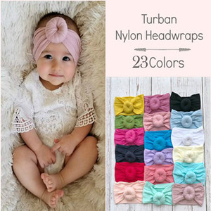 Baby Solid Turban 23 Colors Donuts Nylon Headwraps Bohemian Style Infant Baby Round Nylon Soft Wide Hair Band Kids Headbands 060617