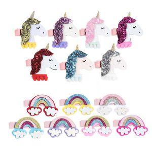 Neue Babyhaar-Zusätze Einhorn Mädchen Haar beugt Regenbogen Prinzessin jojo siwa Kinder Haarclips Band Kinder Barrettes Haarspangen A1744