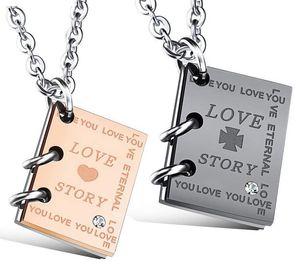 Collana Coppia Hemiston creativo Love Story Libro d'acciaio di titanio