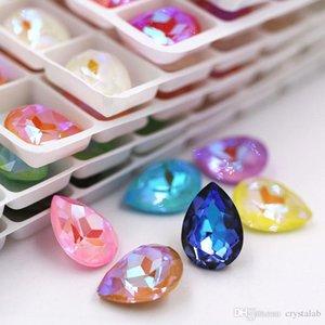 Luxus 13x18mm Teardrop Form Mocha Fluoreszenz Pointback Kristallstrass Glas Strass für Ohrringe Nageldekorationen Kleber auf Kristall