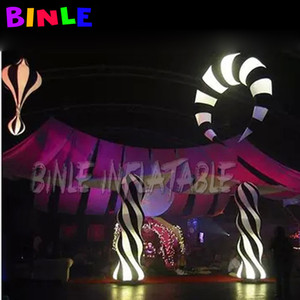1set of inflatable led pillar and led crescent moon balloon with white and black strips inflatable colomns for stage decoration