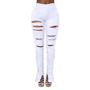 Clothing Womens Designer Long Pants Skinny Elastic Waist Solid Color Hole Womens Pants Urban Leisure Style Womens