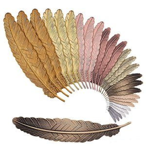 7 Colors Metal Feather Bookmark Document Book Mark Label Golden Silver Rose Gold Bookmark Office School Supplies DHL free