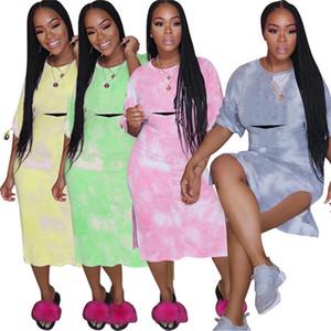 Para mujer diseñador de manga corta a media pierna Vestidos vestido de falda vestidos de una pieza clubwear mujeres de alta calidad klw3613 ropa