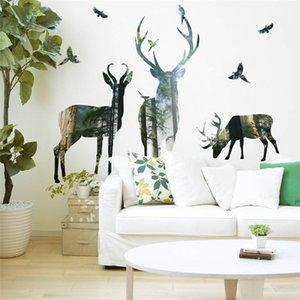 벽 스티커 홈 장식 거실 사무실 장식 3D 효과 벽 데칼 PVC 벽화 예술 포스터 벽지 사슴 숲