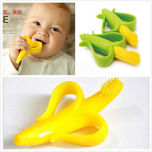 Original HQ Baby Safe Teether Banana maïs Anneau de dentition en silicone Brosse à dents