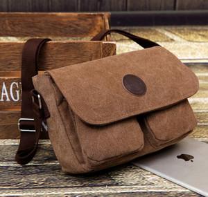3pcs Messenger Bags Men Canvas Double Pocket Decoration Solid Flap Cover Hasp Cross body Bag 3colors