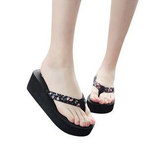 SAGACE Summer Women's Fashion Flip Flops Casual Shoes Soft Canvas Decor Non-Slip Thick Soled Beach Slippers 2020