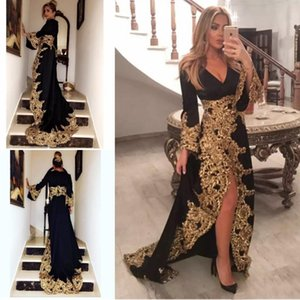 Siyah Dantel Aplikler Uzun Kollu Ile Müslüman Abiye 2019 Altın Embrodiery Örgün Abiye giyim Yüksek Bölünmüş Suudi Arapça Balo Elbise
