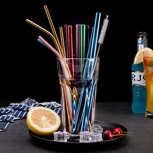 Stainless Steel Colored Straw Bent Straight Reusable Drinking Straws Metal Straw Cleaner Brush Bar Drinking Tool Home Party Use Random Color