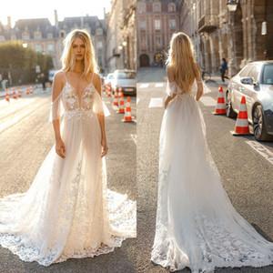 2020 Gali Karten A línea vestidos de boda más nuevo de la ilusión de Boho espagueti del cordón Apliques Backless atractivo del vestido nupcial de los vestidos de Bohemia