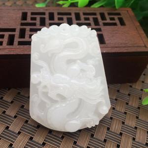 Toptan A YÜK Doğal Sincan Beyaz Jade Afganistan Afganistan Ejderha ve Phoenix Chengxiang Jade Pendant