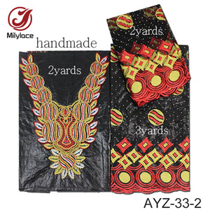 High end design african bazin riche getzner fabric with beads and stones 2yards +2 yards +3 yards nigerian fabric AYZ-33