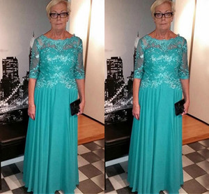 Real Photo Turq Mother of the Bride Groom Dresses Lace Illusion Half Sleeves Bateau Sheer Neck Chiffon Long Cheap Evening Formal Dress