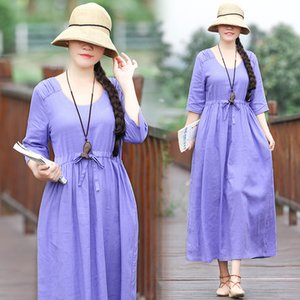 Lavender Art Style Linen Dress Women Spring Summer Half Sleeve Loose Casual Long Dress Scoop Neck Mid-Calf Length Holiday Dress