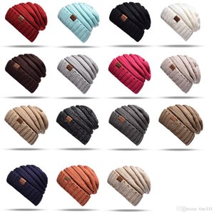 15 colores Trendy Warm Chunky Soft Stretch Cable Knit Beanie Skully para hombre mujer con etiqueta envío gratis