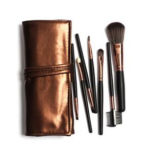 2019 Hot Professional 7pcs Protable Makeup Brushes Set Kit In Sleek Golden Leather Bag Portable Make up Brushes