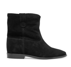 Kadınlar Orijinal Siyah Deri Isabel Crisi Süet Bilek Boots Yeni Klasik Marant Defilesi Pop Patik Ayakkabı