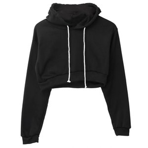 2020 Fashion Solid Crop Hoodies Sport Pullover Tops Casual Jumper Coat HoodiesWomen Sweatershirts Feme Long Sleeve Pullover