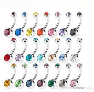 Nouveau inoxydable anneaux nombril acier Anneaux Nombril cristal barres strass Body Piercing Jewlery pour la mode bikini femmes Bijoux