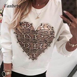 Damen Kawaii Korn-Herz-Muster-Bluse Shirts Frauen Herbst Pailletten Lippendruck Langarm Pullover Weibliche beiläufige O-Ansatz Tops