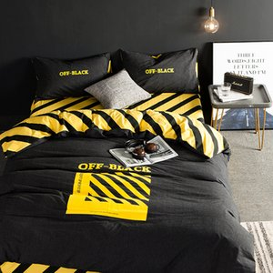 Popular Brand Bed Sheet Quilt Cover Four-Piece Cotton Black and White Male Student Three-Piece Bedding Set