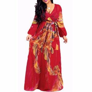 2020 chiffon Long Sleeve maxi dress bohemia dress full plus size celebrity graduation Dinner Beach Sundress