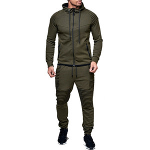ZOGAA 2 Pièces Ensembles Survêtement Hommes Nouvelle Marque Automne Hiver Sweat À Capuche + Cordon Pantalon Mâle Rayure Pure Color Hoodies