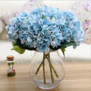 Artificial Hydrangea Flower Head 46cm Fake Silk Single Real Touch Hydrangeas 8 Colors for Wedding Centerpieces Home Party Decorative Flowers