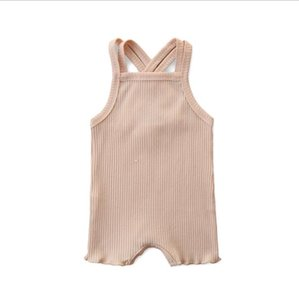 Baby Sleeveless Solid Kids Clothes Infant Romers Summer D886 Jumpsuits Designer Girls Onesies Bodysuits Climb Suspender Clothes Boys Afexs