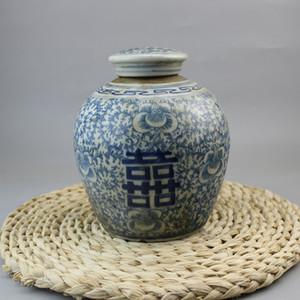 Riego antiguo antiguo de porcelana azul y blanca pintada a mano, siete u ochenta doble felicidad con cubierta de riego de té Jingdezhen porcela