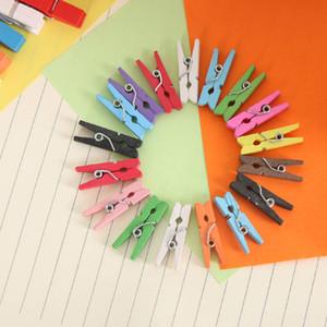 100шт Мини-Colored Spring Wood памятки Clips Одежда Фотобумага Peg Pin прищепка Craft Clips украшение партии 2.5-3.5cm