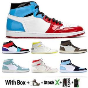 Mit Box New Hoch: 1 OG MID X Travis Scotts Basketball-Schuh-Turbo Grün Geschichte Gs Gebannt NRG Rebel XX Union Sport 1s Unc Weiß Blau US13