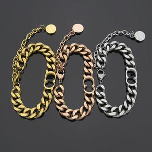 Fashiontitânio de aço D carta simples bracelete espesso casal espesso rosa ouro pulseira de prata para mulher