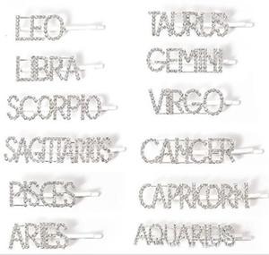 12 Signo de strass cabelo pinos clipes de cristal brilhante Rhinestones palavra Letters Cabelo 12 constelações Acessórios Cabelo Diamante